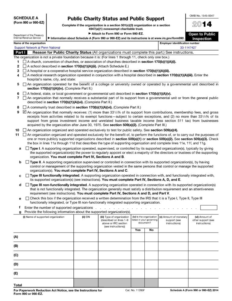Snap 2014 Tax Return - Form 990-Ez Schedule A Page 1